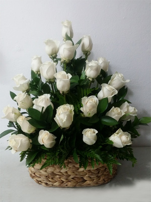 White Roses in a Basket
